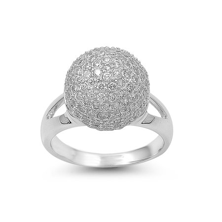 Micro Pave Ball Center Cubic Zirconia Ring Sterling Silver 925