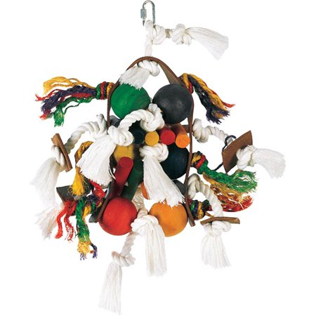 Living World Junglewood Bird Toy -Large Wood Rope and Tamborine with 6 Balls and Hanging Clip