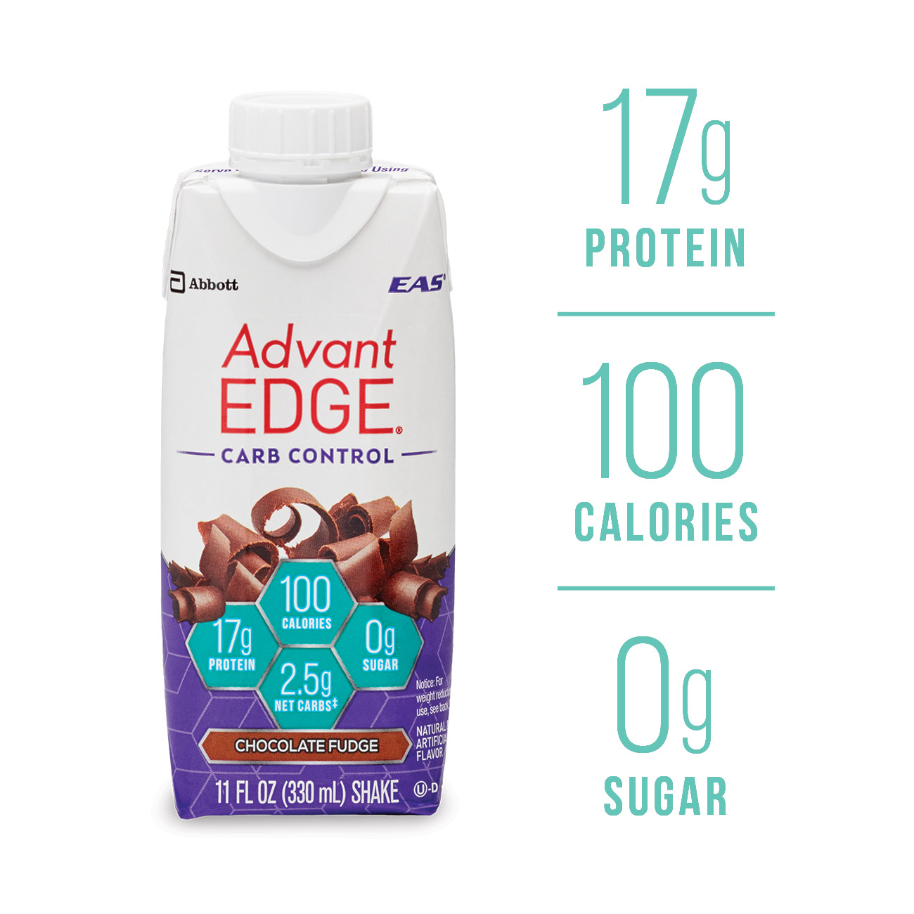 EAS AdvantEDGE Carb Control Protein Shake Chocolate Fudge Ready-to-Drink, 17 g of Protein 11 fl oz Bottle, 4 Count