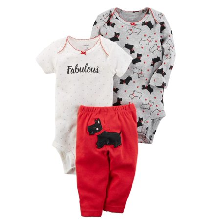 Carters Infant Girls Fabulous Scottie Dog Baby Outfit 3 Pc Bodysuits & Leggings