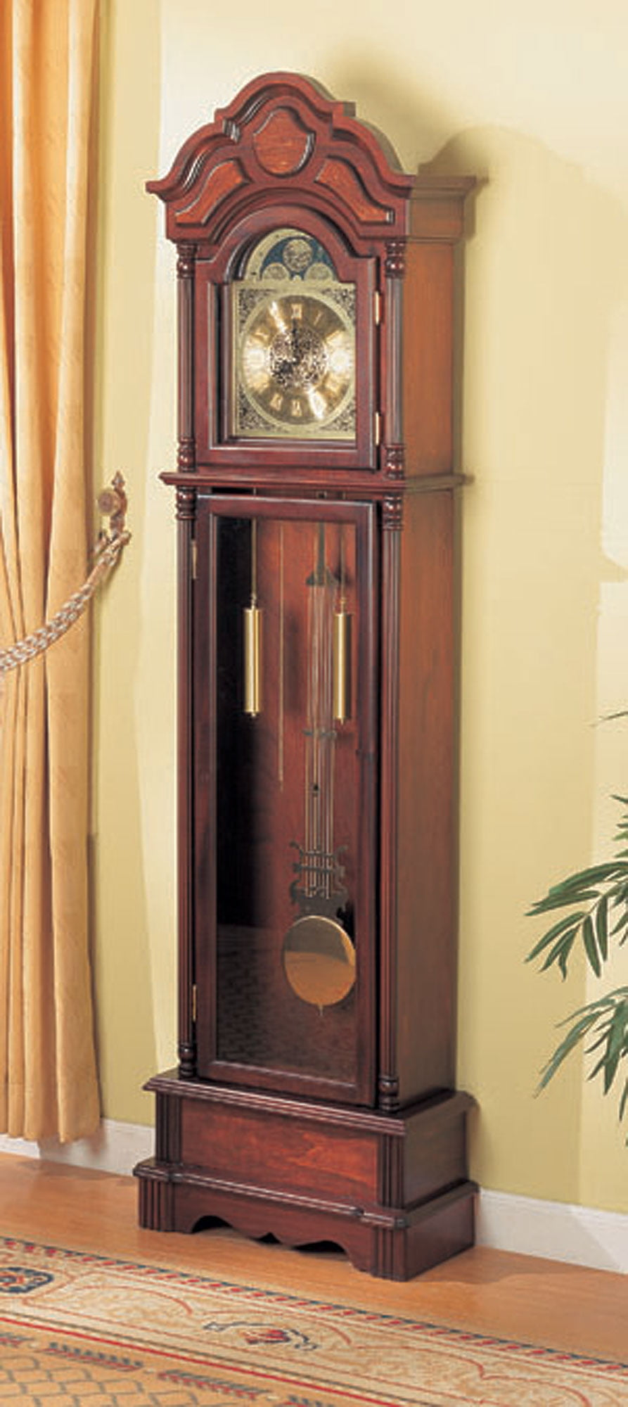 1PerfectChoice Traditional Grandfather Clock Floor Westminster Pendulum Chimes Brown Red Wood by