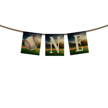 GCKG One Banner Bunting 1st First Birthday Banner,Baseball Ground Field Background Banner Garland Flag for Baby Boy Girl First Birthday Party Decorations