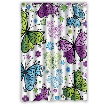 HelloDecor Butterfly Shower Curtain Polyester Fabric Bathroom Decorative Curtain Size 48x72 Inches](Butterfly Bathroom)