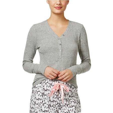 Alfani Womens Ribbed Henley Pajama Sleep T-shirt