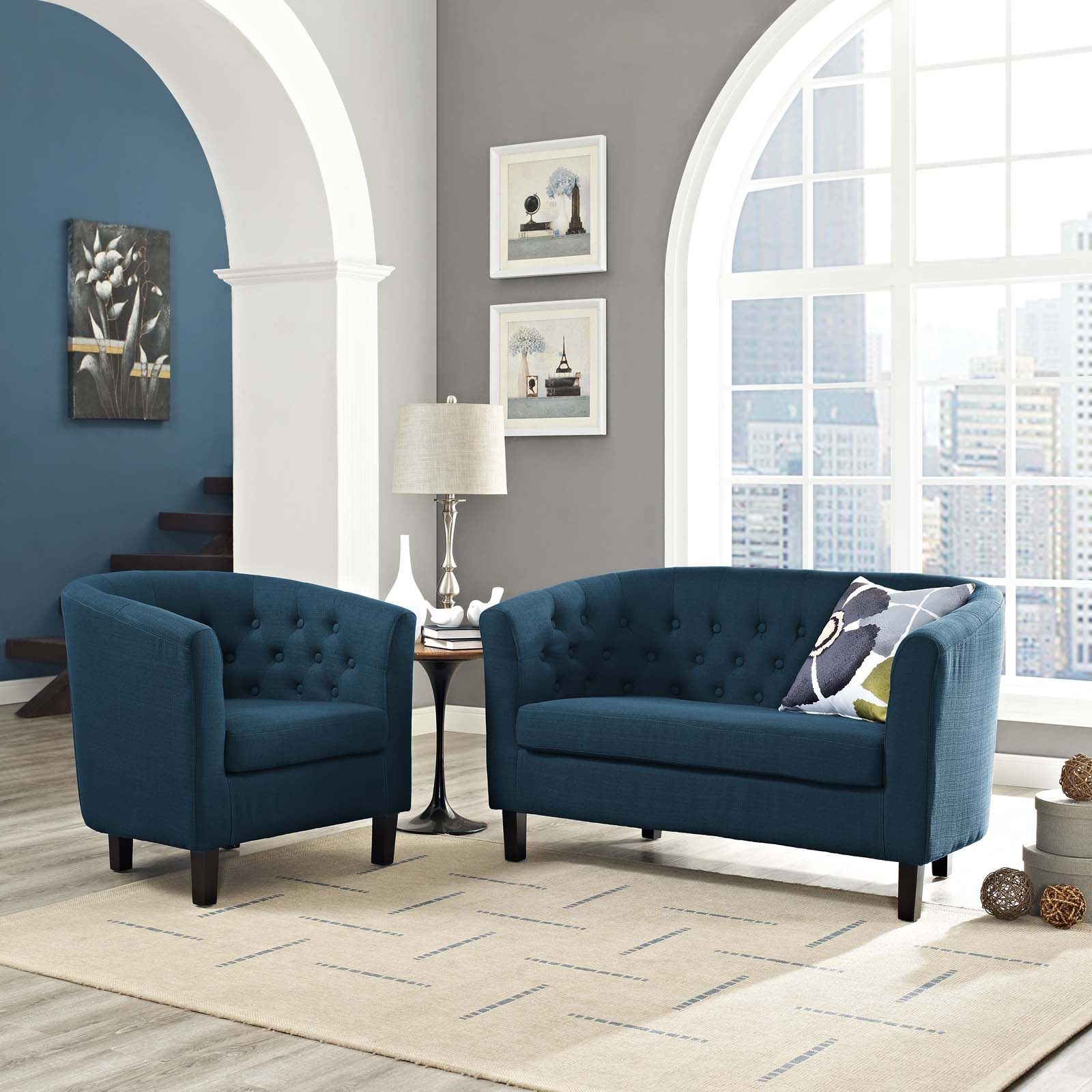 Modway Prospect 2 Piece Upholstered Fabric Loveseat and Armchair Set, Multiple Colors