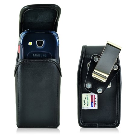 Turtleback Belt Case made for Samsung Convoy 4 Black Vertical Holster Leather Pouch with Heavy Duty Rotating Ratcheting Belt Clip interior fits 4.38 X 2.25 X 1.15 in - Made in USA