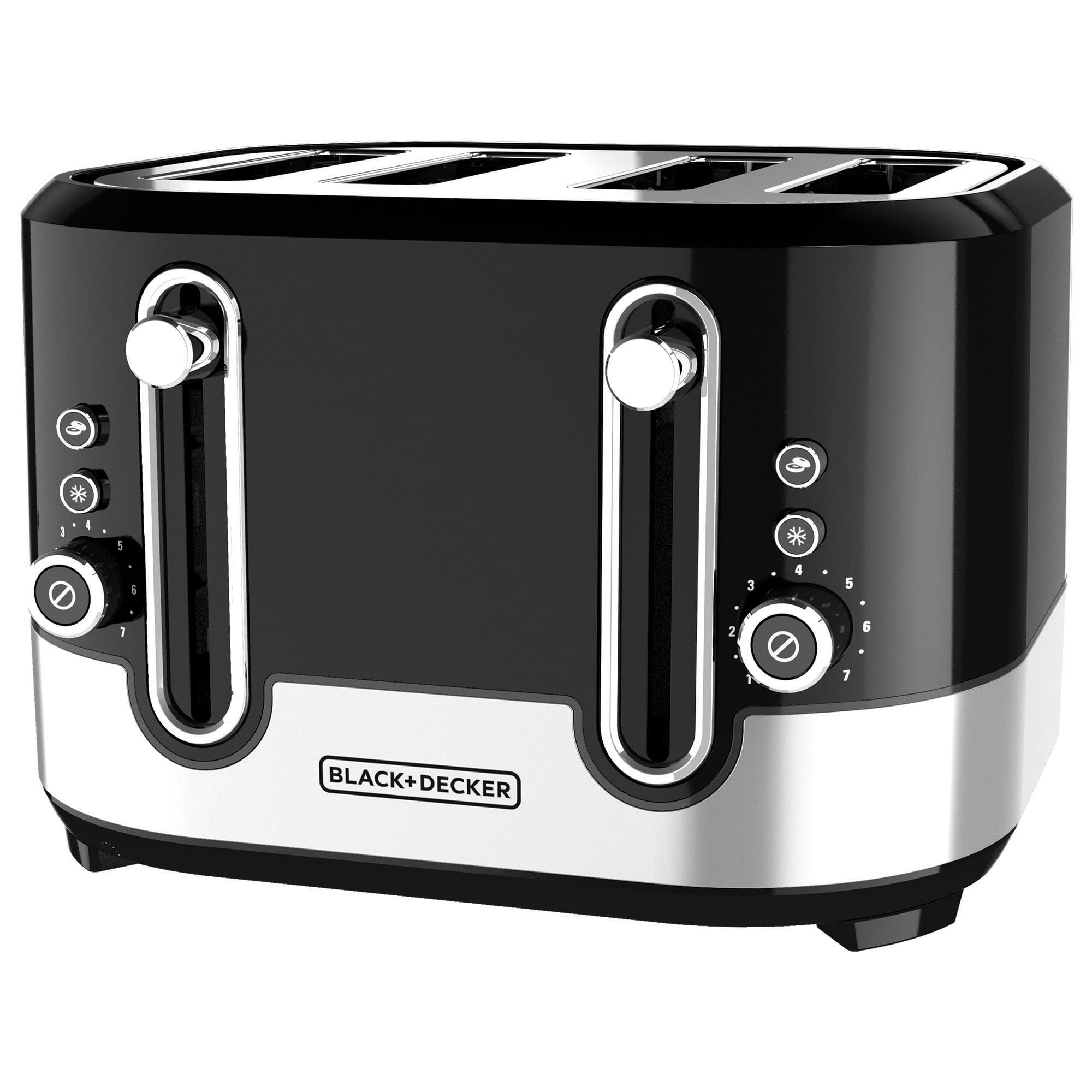 BLACK+DECKER Extra-Wide Slot 4-Slice Toaster, Black/Silver, TR4200SBD