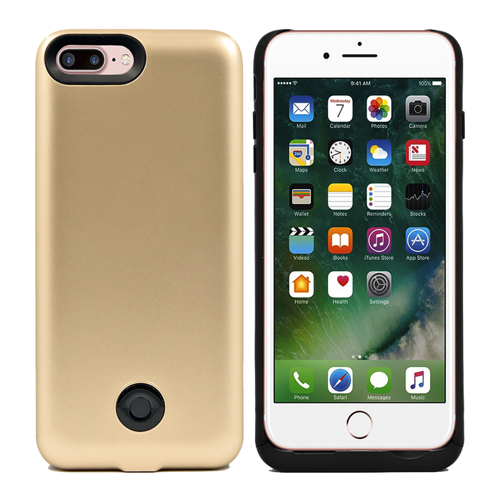 IPhone 8 Plus / IPhone 7 Plus Slim External Rechargeable Protective Portable Charging External Battery Backup Case Charger Power Bank 9000mAh