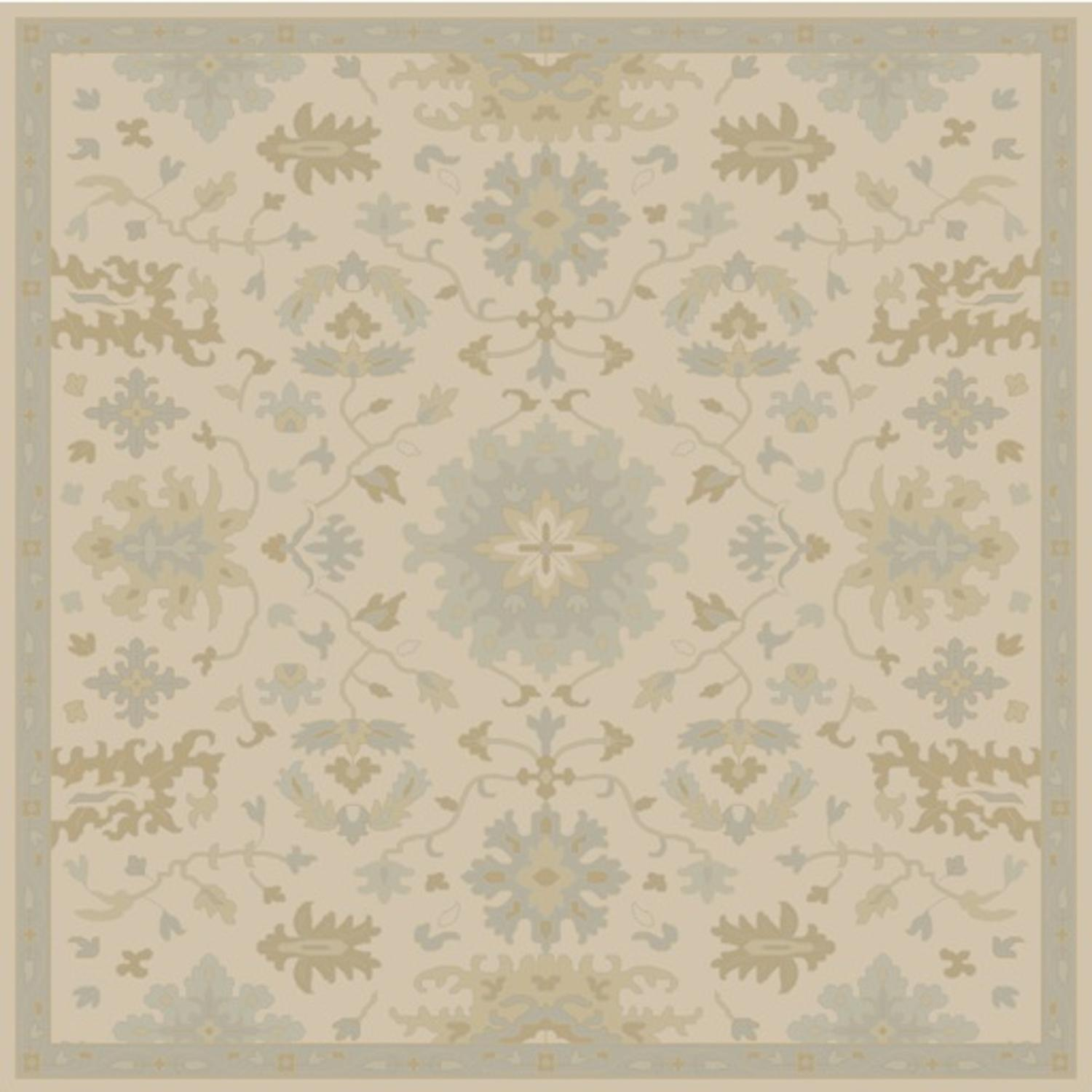 6' x 6' Classical Caesar Sand Brown and Olive Green Square Wool Area Throw Rug