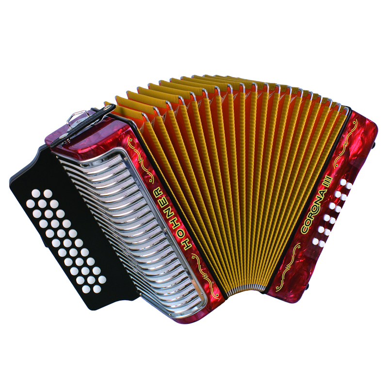 Hohner Button Accordion Corona III GCF, With Gig Bag And Straps, Red by Hohner