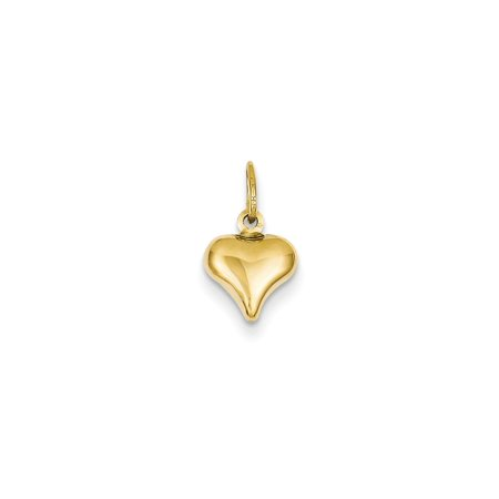 14K Yellow Gold Mini Puffed Heart Charm (14mm x 9mm) 9 Mm Puffed Heart
