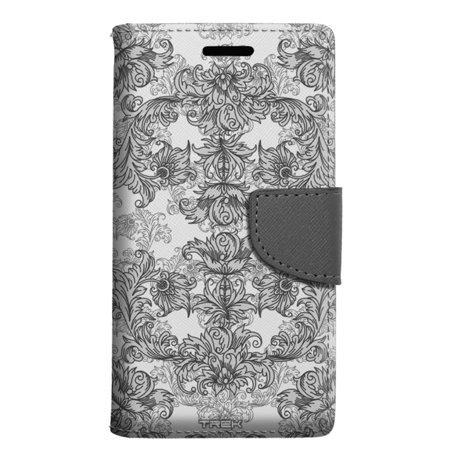 LG Rebel 2 Wallet Case - Elegant Grey Floral Lace on White Case