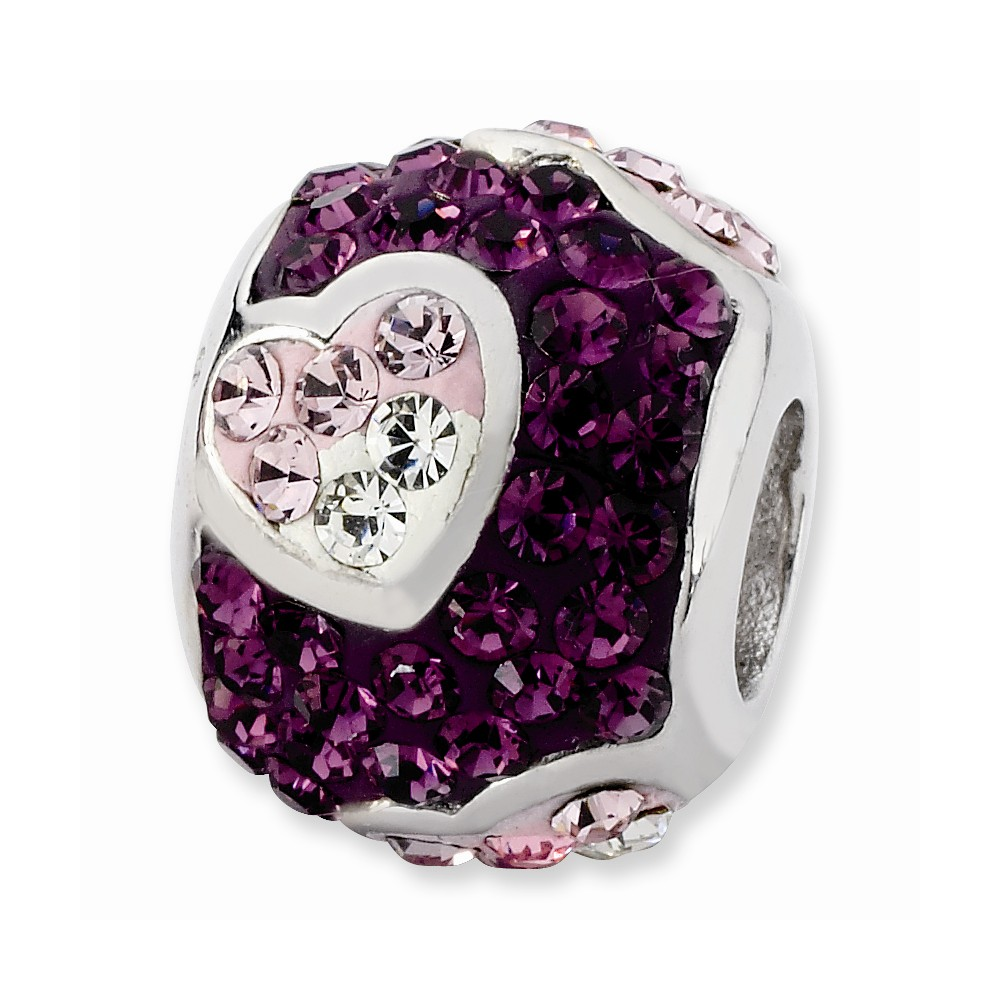 Sterling Silver Purple Graduated Crystal Heart Bead
