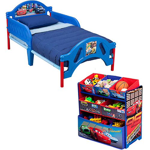 Disney Cars Toddler Bed and Multi Bin Organizer Bundle