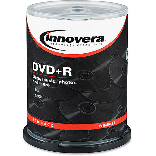 Innovera DVD+R Discs, 4.7GB, 16x, Spindle, Silver, 100/Pack