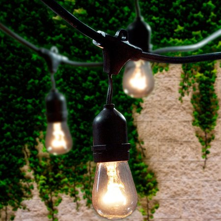 Commercial Grade Outdoor String Lights with 15 Hanging Sockets - 48 Ft black weatherproof cord Weatherproof Strand for Patio Garden Porch Backyard Party Deck Yard – S14 Black (For Patio Ft)