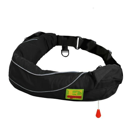 Premium Manual Inflatable Belt Pack PFD Waist Inflate Life Jacket with Zippered Storage Pocket for Adult Black