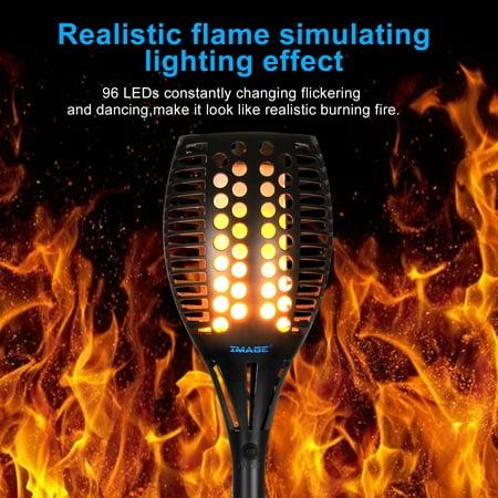 AGPtek Solar Torches Lights Outdoor Landscape Lighting Waterproof LED Flickering Dancing Flames Auto On/Off 2 PCS