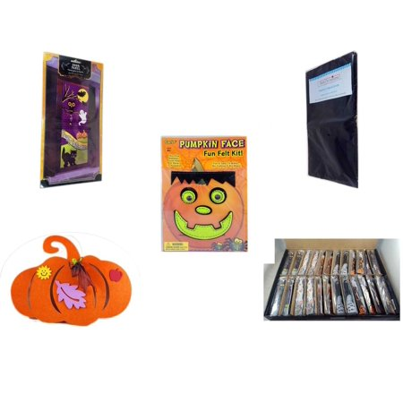 Halloween Fun Gift Bundle [5 Piece] - Happy  Door Panel - Black Plastic Table Cover  - Darice Pumpkin Face Fun Felt Kit - Frankenstein -  Felt Pumpkin Decoration - Large Box  Wooden Craft Stick Figu - Super Fun Halloween Crafts