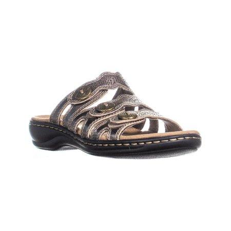 best shoes beautiful style in stock Clarks Leisa Grace Platform Slip on Sandals, Pewter Metallic ...