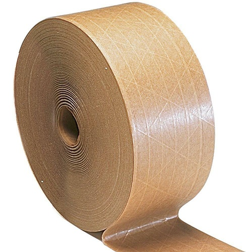 "Water Activated Reinforced Industrial Gummed Tape Tan/Brown Color 3"" x 450' 10 Rolls Per Case"