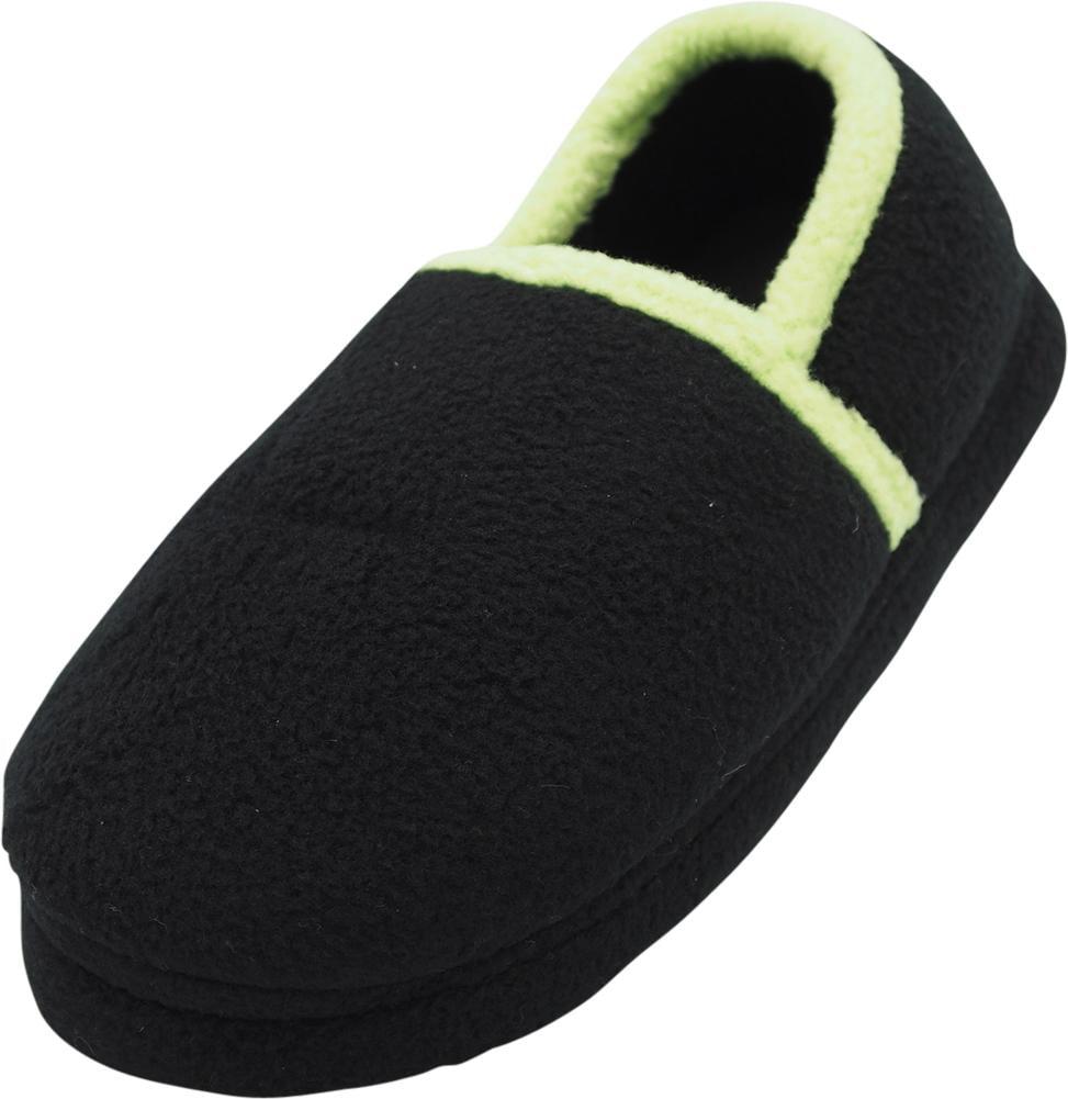 Norty Toddler Boys Kids Fleece Memory Foam Slip On Indoor Slippers Shoe, 40824 Black/Lime / 7MUSToddler