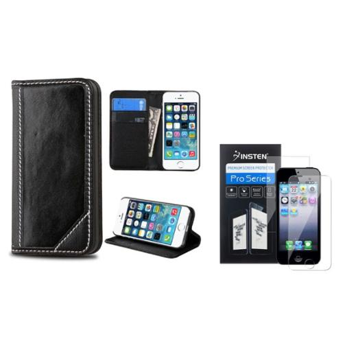Insten Flip Leather Wallet Case with card slot For iPhone SE 5S 5 - Black (+ Front & Back Clear Protector)