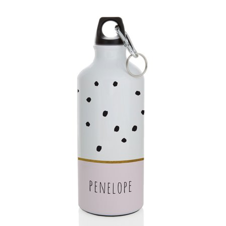 Personalized Plastic Water Bottles (Personalized with Name 600 ml. White Alumimun Water Bottle with Pink and gold trimmed bottom and Black Polka Dots Water)