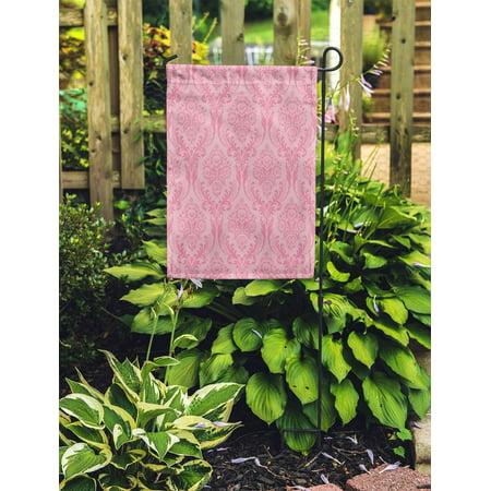 NUDECOR Pink Vintage Damask Pattern Retro Valentine Floral Baroque Garden Flag Decorative Flag House Banner 12x18 inch - image 1 de 2