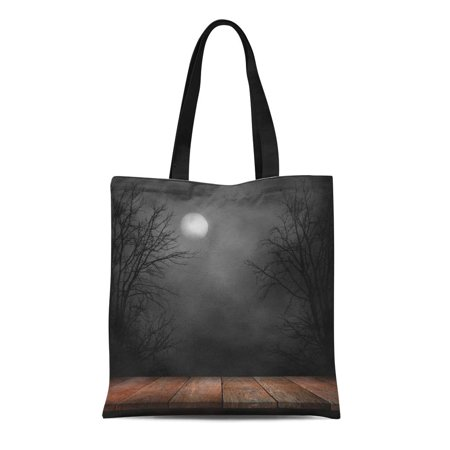 ASHLEIGH Canvas Bag Resuable Tote Grocery Shopping Bags Forest Old Wood Table and Silhouette Dead Tree at Night for Halloween Creepy Tote Bag](Halloween Dead Tree Silhouette)