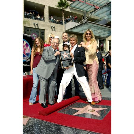 Johnny Grant Rod Stewart Penny Lancaster At The Induction Ceremony For Star On The Hollywood Walk Of Fame For Rod Stewart Hollywood Boulevard Los Angeles Ca October 11 2005 Photo By Michael GermanaEve