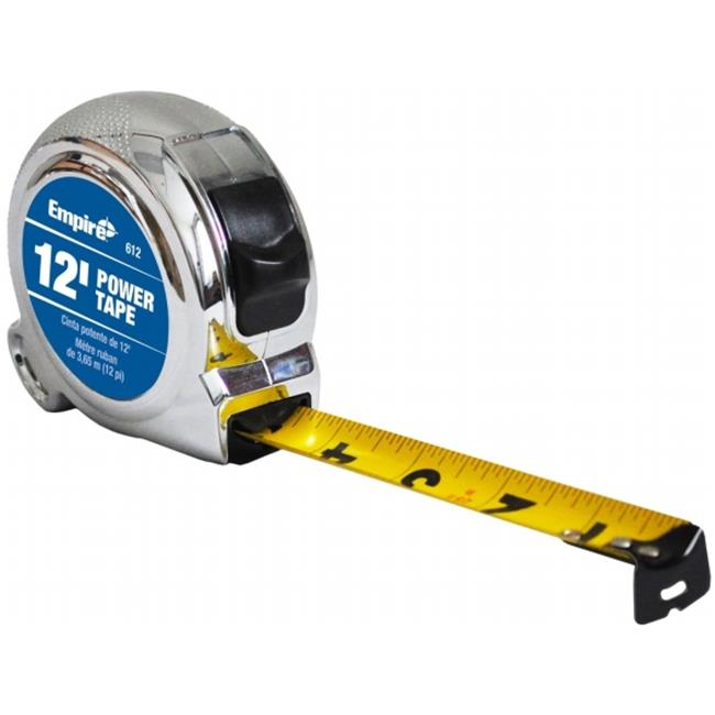 Empire 612 Power Tape Measure, 0.62 in. x 12 ft., Black Case