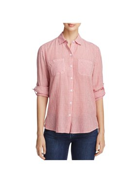 Beach Lunch Lounge Womens Jocelyn Pinstripe Heathered Button-Down Top