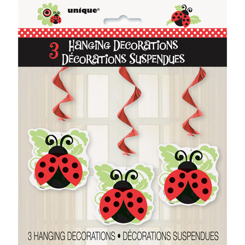 Ladybug Party Hanging Decorations, 3pk