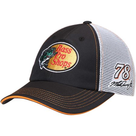Black And White Checkered Hat (Martin Truex Jr. Checkered Flag Bass Pro Shops Driver Adjustable Hat - Black/White -)