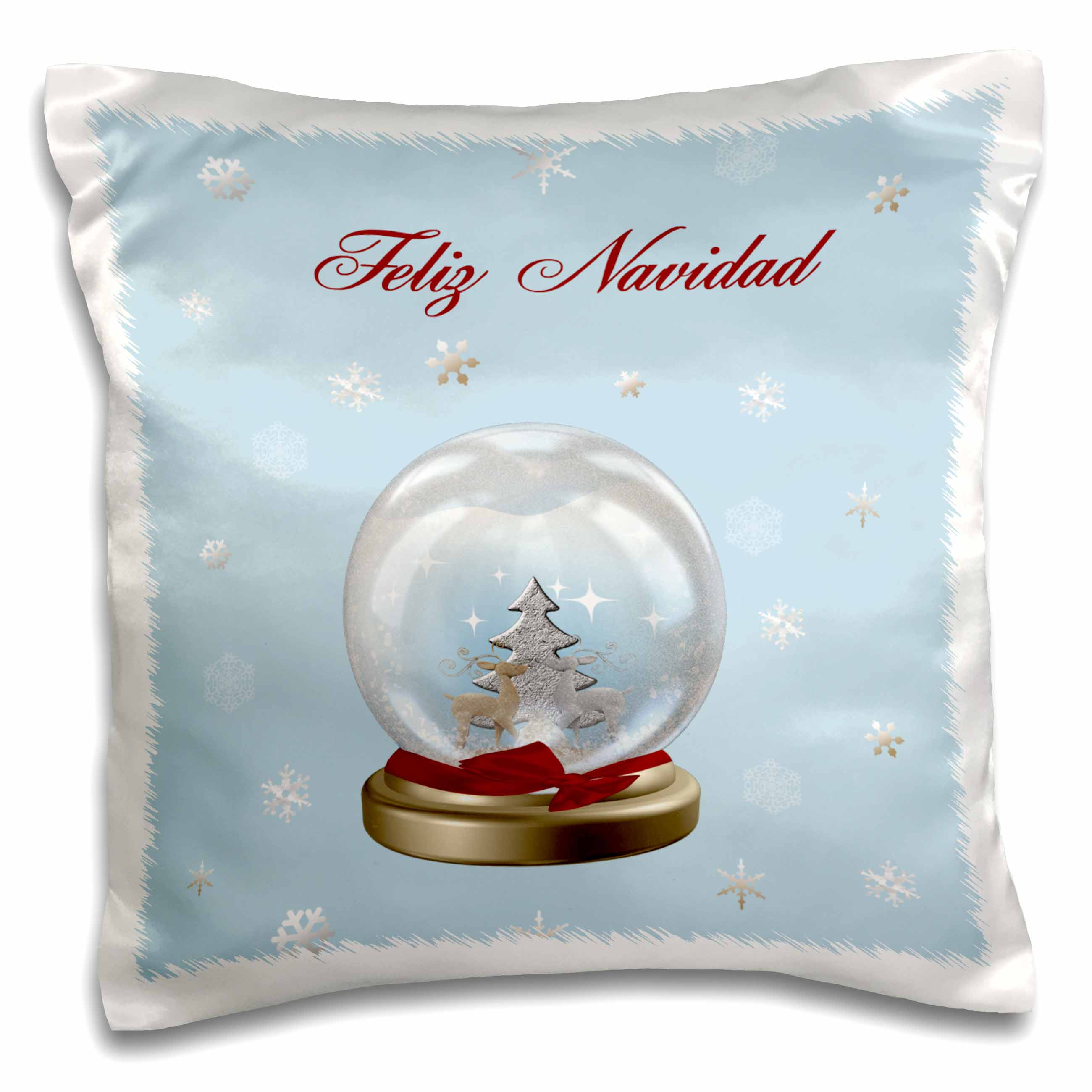 3dRose Snow Globe Deer, Tree and Snowflakes, Merry Christmas in Spanish, Pillow Case, 16 by 16-inch