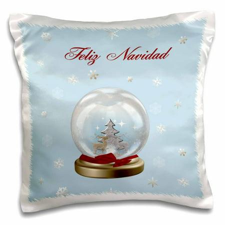 3dRose Snow Globe Deer, Tree and Snowflakes, Merry Christmas in Spanish, Pillow Case, 16 by (Deer Snowflake)
