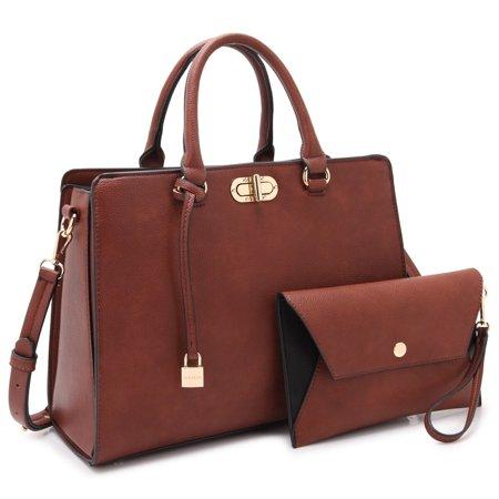 Twist Lock Accent - Dasein  Faux Leather Padlock Accent Twist Lock Satchel Handbag with Matching Wristlet