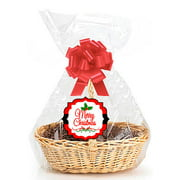Merry Christmas 2pack Designer Cello Bags Tags Bows Cellophane Extra Large Gift Basket Packaging