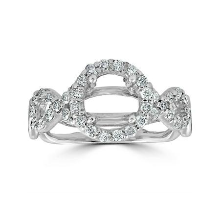 3/4ct Pave Halo Diamond Engagement Ring Setting 14K White Gold (14k Pave Diamond Ring Setting)