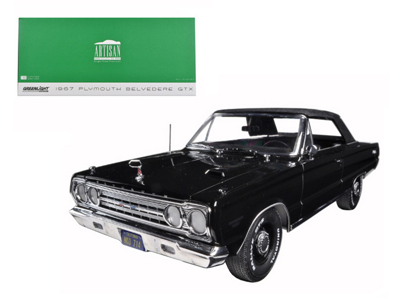 1967 Plymouth Belvedere GTX Convertible Black 1 18 Diecast Model Car by Greenlight by GreenLight
