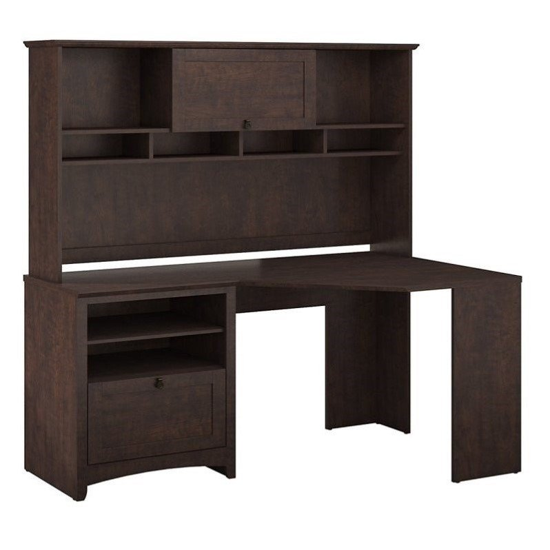 "Bush Buena Vista 60"" Corner Desk with Hutch in Madison Cherry"