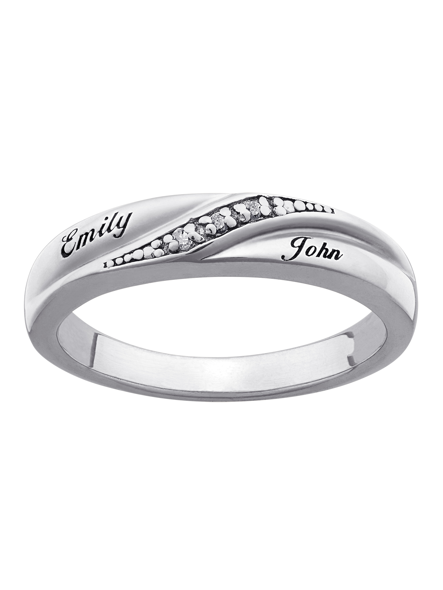 Personalized Ladies' Sterling Silver Diamond Accent Name Wedding Band