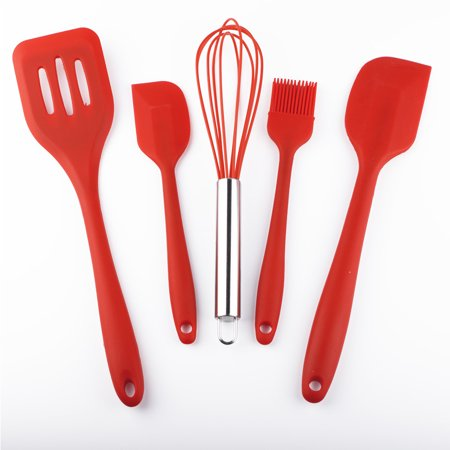 5Pcs Cooking Silicone Baking Tool Set - 1 Brush, 1 Whisk, 2 Silicone Spatula & 1 Slotted Spoon- Heat Resistant Spoonula Kitchen Utensils Kit, Easy Bake Tools, Red (Halloween Bake Sale Easy Ideas)