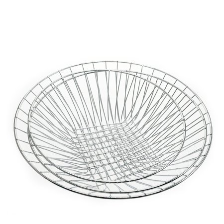 3 Tiered Hanging Fruit Baskets - Adjustable Chrome Wire Produce Storage Bowls - image 2 of 5