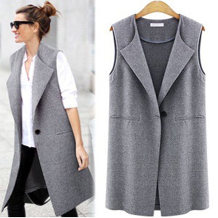 Women Cotton Warm Sleeveless Casual Slim Vest Fashion Button Outwear Lapel Thicken Top Parka Open Front Winter Cardigan Coat Jacket