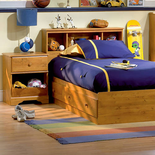 South Shore Little Treasures Twin Bed and Headboard and Nightstand Set, Country Pine