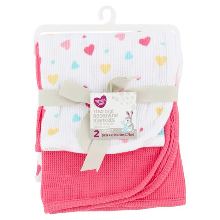 Parents Choice Thermal Receiving Blankets, Pink, 2 Pack