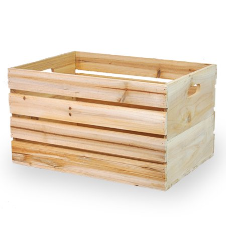 Wooden crate storage box with in handles 15in for Re storage crate