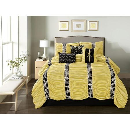 7 Piece Harley Yellow Black Comforter Set Walmart Com